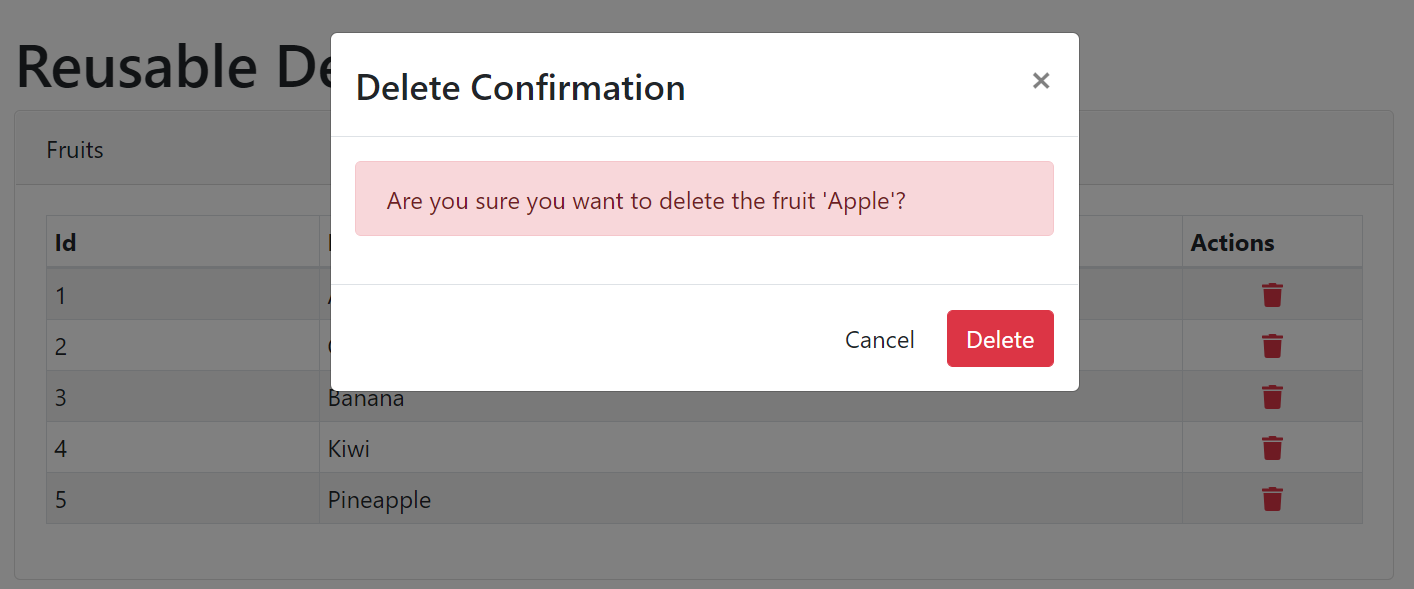 React Delete Confirmation Modal